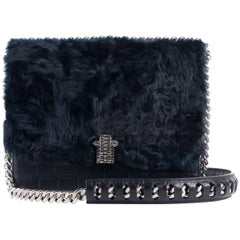 Roberto Cavalli Black Leather Navy Tousled Fur Chained Shoulder Bag