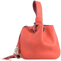 Roberto Cavalli Small Burnt-Orange Leather Tassel Wristlet Bucket Bag