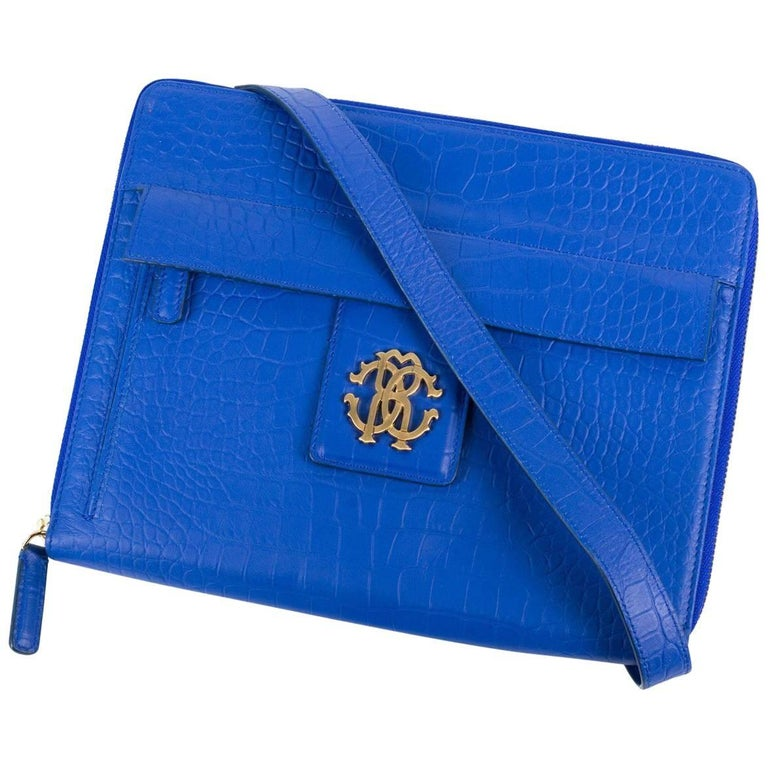 Roberto Cavalli Blue Textured Leather Shoulder Strap Tablet Device Case For Sale