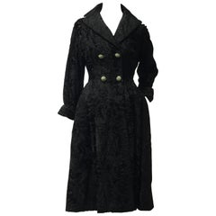 "1950s Hattie Carnegie ""New Look"" Black Broadtail Fur Coat Dress"