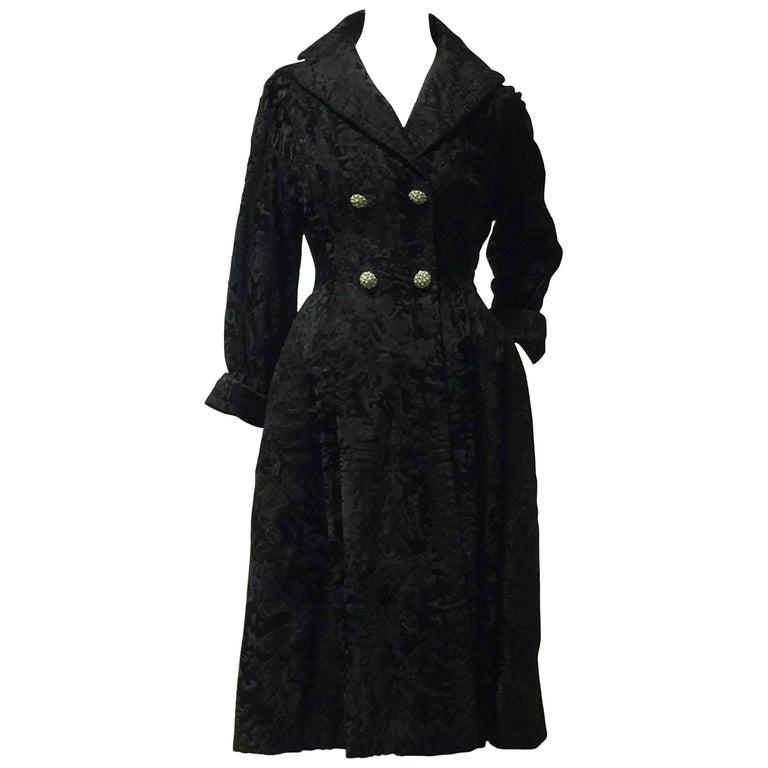 "1950s Hattie Carnegie ""New Look"" Black Broadtail Fur Coat Dress For Sale"