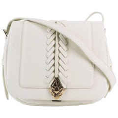 Roberto Cavalli Women's White Leather Small Cross-body Saddle Bag