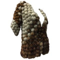 Custom Made Mink Fur Pom-Pom Decorated Calico Colored Cardigan