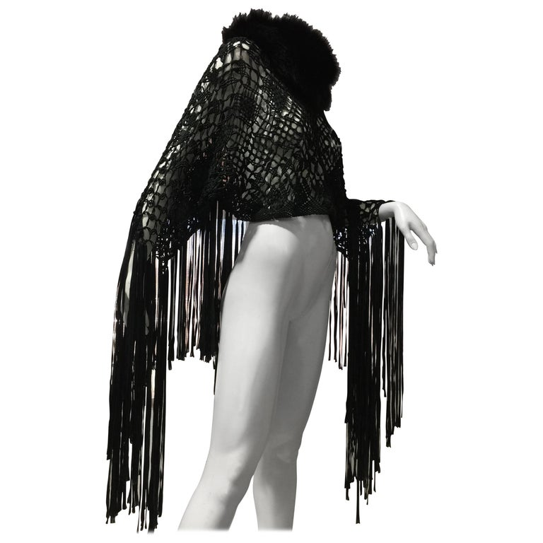 1970s Black Silk Ribbon Macrame & Fringe Poncho With Fox Fur Trim