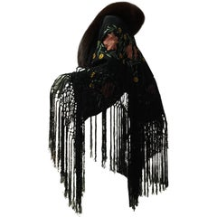 1930s Black Silk Embroidered Flamenco Shawl Styled W/ Fringe & Purple Fox Fur
