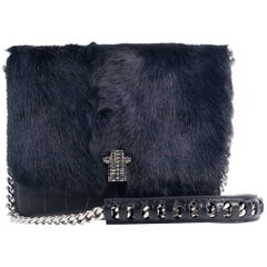 NEW~Roberto Cavalli Black Leather Navy Tinted Fur Chained Shoulder Bag