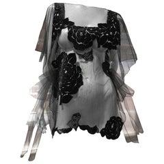 1930s Style Black Tulle Ornamental Tabard Top W/ Black Velet Rose Applique
