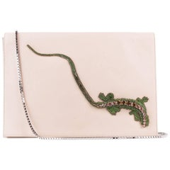 Roberto Cavalli Beige Leather Embellished Front Flap Shoulder Bag