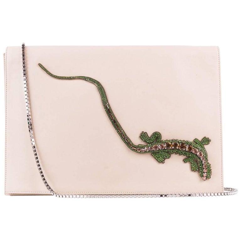 Roberto Cavalli Beige Leather Embellished Front Flap Shoulder Bag For Sale