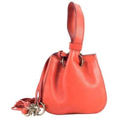 Roberto Cavalli Mini Burnt-Orange Leather Tassel Wristlet Bucket Bag