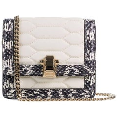 Roberto Cavalli Mini White Textured Leather Chained Crossbody Bag