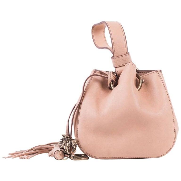 Roberto Cavalli Women's Mini Beige Leather Tassel Wristlet Bucket Bag