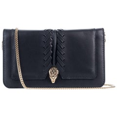 Roberto Cavalli Women's Black Leather Wallet Crossbody Bag