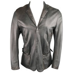 UN SOLO MONDO L Charcoal Distressed Leather Peak Lapel Jacket
