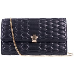 Roberto Cavalli Womens Black Textured Leather Chained Crossbody Wallet
