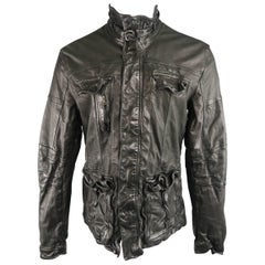 Men's NEIL BARRETT L Black Wrinkled Leather High Collar Racing Jacket