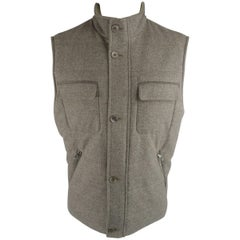 Men's LORO PIANA L Slate Gray Cashmere / Wool Suede Trim Quilted Vest