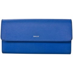 Bally Blue Embossed Leather Continental Wallet with Box