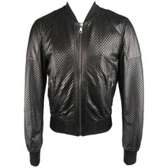 Men's DOLCE & GABBANA 40 Black Checkered Perforated Leather Baseball Jacket