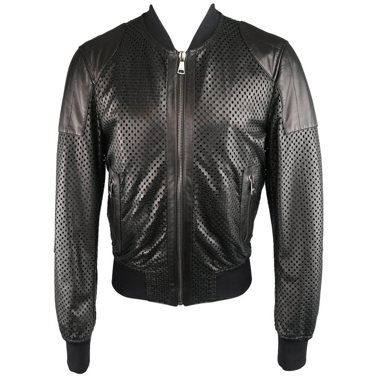 Men's DOLCE & GABBANA 40 Black Checkered Perforated Leather Baseball Jacket