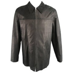 Men's AGNES B. HOMME 40 Black Textured Leather Zip Car Coat