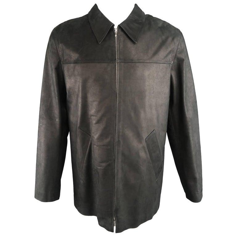 Men's AGNES B. HOMME 40 Black Textured Leather Zip Car Coat
