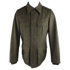 Men's PRADA 40 Heather Green Wool Collared Military Pea Coat Jacket