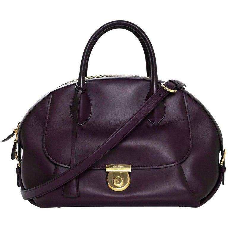 Salvatore Ferragamo Plum Leather Medium Fiamma Bowler Bag