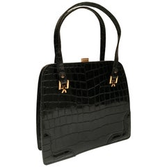 1950'S French Leather Crocodile Emobssed Handbag By, Dofan