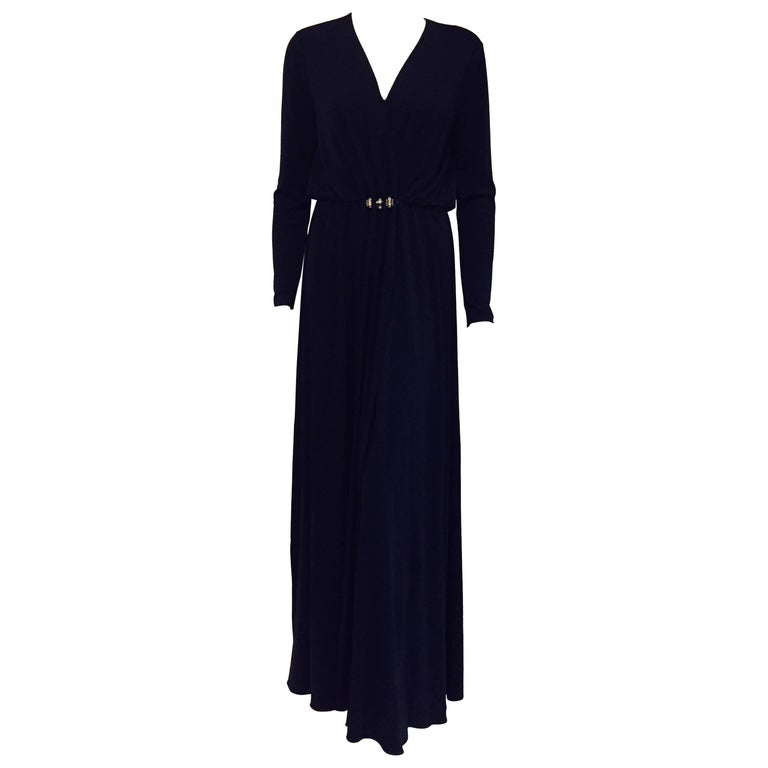 Luxurious Lanvin Navy Blue Long Sleeve V Neck  Gown