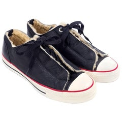 Issey Miyake Black Leather Converse Style Sneakers