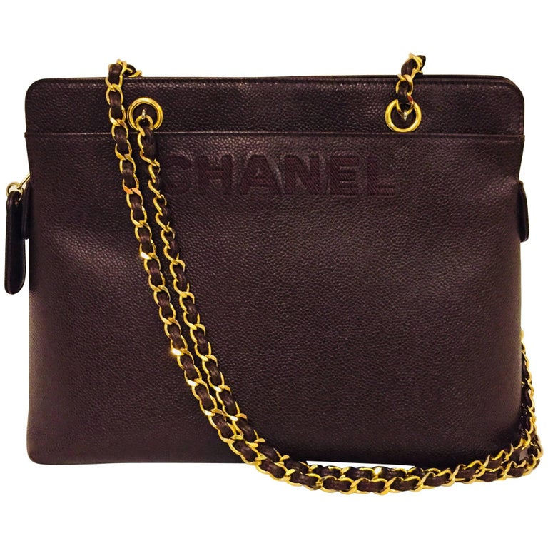 90b9c39a08196a Creative Chanel Brown Caviar w Chanel Name Embroidered at Front of Handbag  For Sale