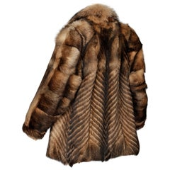 Vintage Brown + Beige Feathered Chevron Wolf Fur Short Car Coat or Jacket
