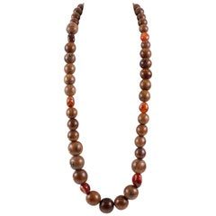 Chanel Wood Bead Long Necklace