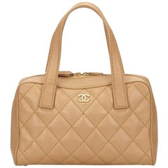 Chanel Breige Wild Stitch Lambskin Leather Handbag