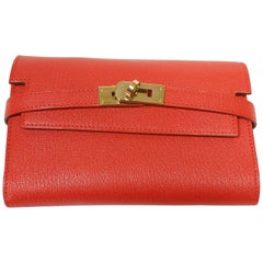 Hermès Kelly Compact Wallet Chevre Mysore Leather Rouge Tomate  / BN