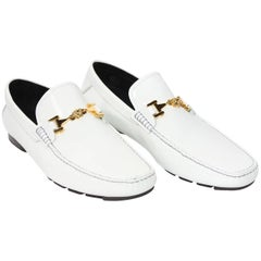 Versace White Patent Leather Loafers Shoes as seen on Bruno