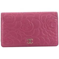 Chanel Bi-Fold Wallet Camellia Lambskin Long