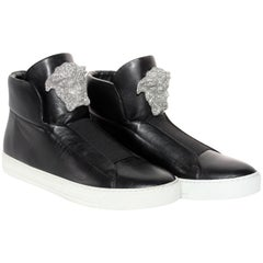Versace SoHo Exclusive Crystal Embellished Black Leather Sneakers for Men