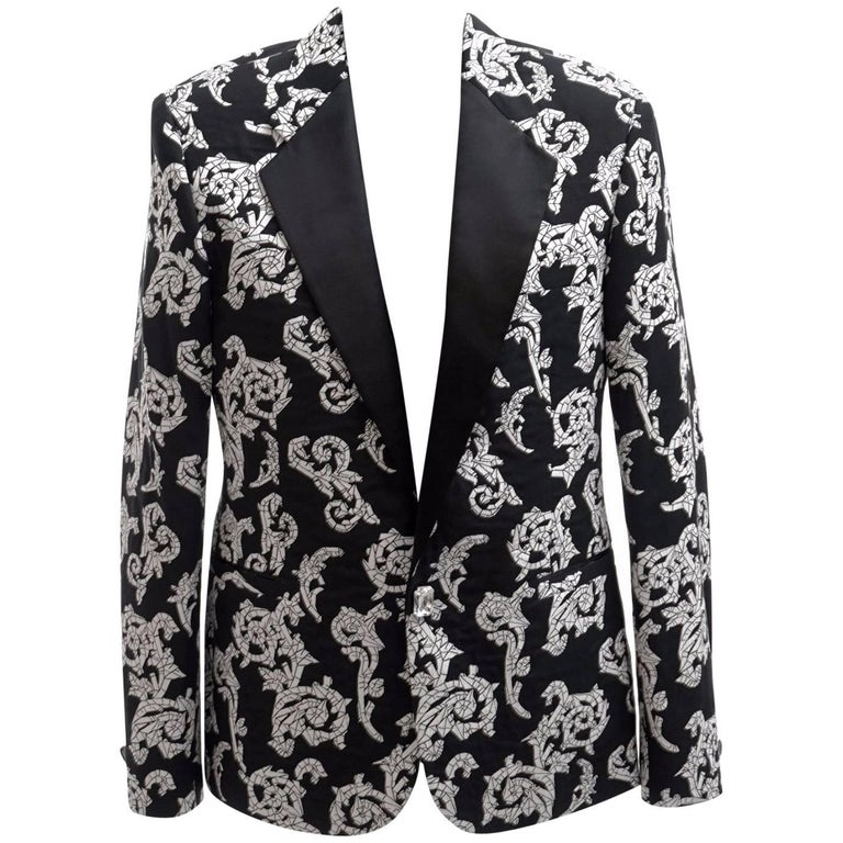 4cdbddb2c8 VERSACE TAILOR MADE TUXEDO BLAZER JACKET with CRYSTAL BUTTONS for MEN