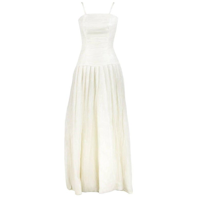 Douglas Cream Silk Wedding Dress, 2000s