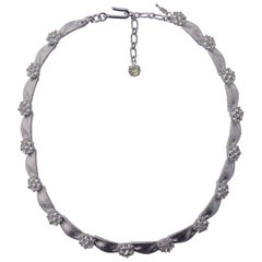 Trifari Silver Plated April Birthday Rhinestone Ribbon Necklace