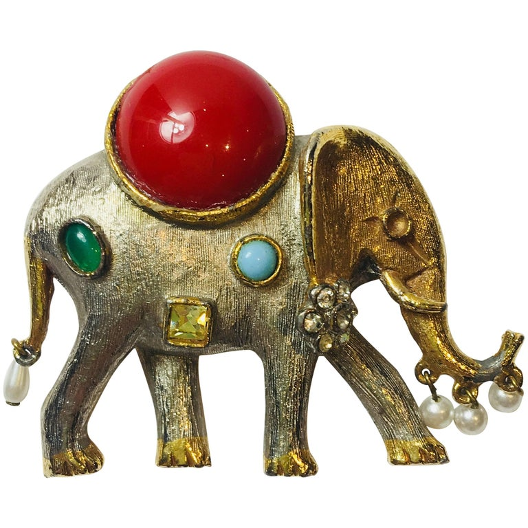 Kenneth Jay Lane Elephant Brooch For Sale