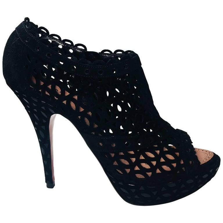 Alaia Suede Caged Heel