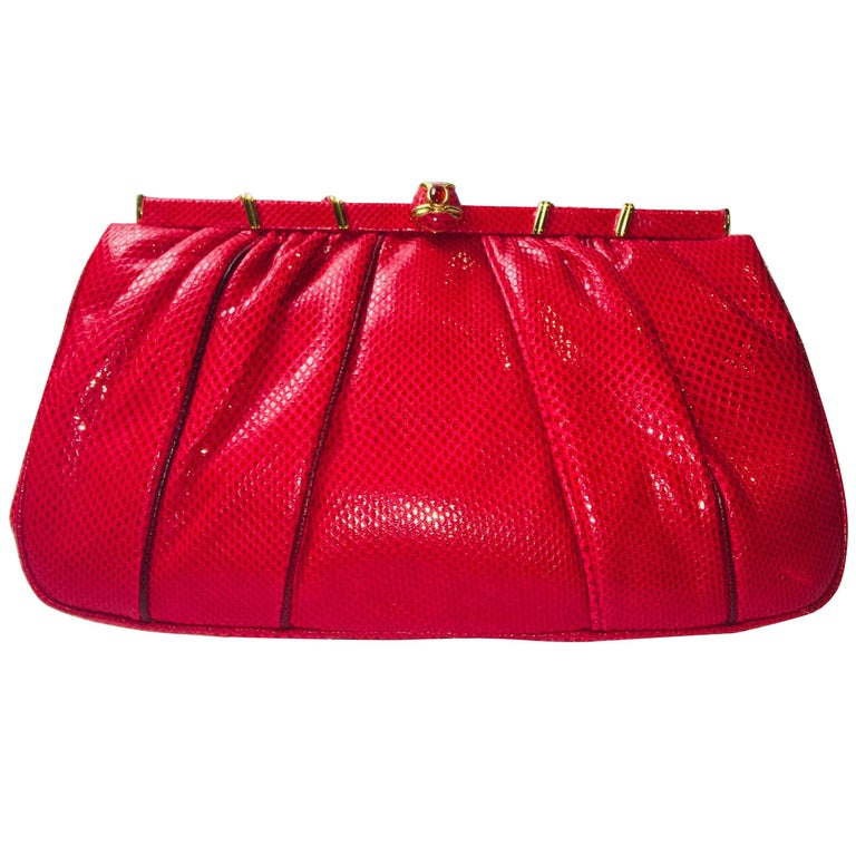 Judith Leiber Red Leather Clutch