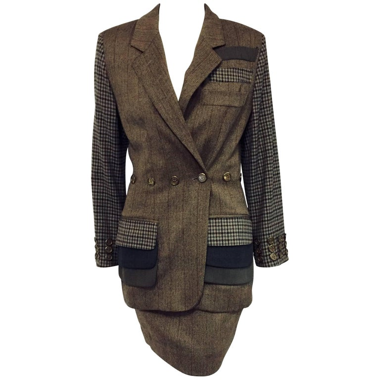 Magical Moschino Multi Color Tweed Skirt Suit w Whimsical Characteristics For Sale