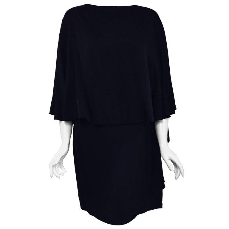Lanvin Navy Blue Cape Dress