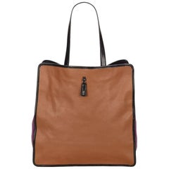 Yves Saint Laurent Tan and Purple Leather Tote Bag