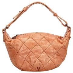 Chanel Orange Surpique Leather Matelasse Shoulder Bag