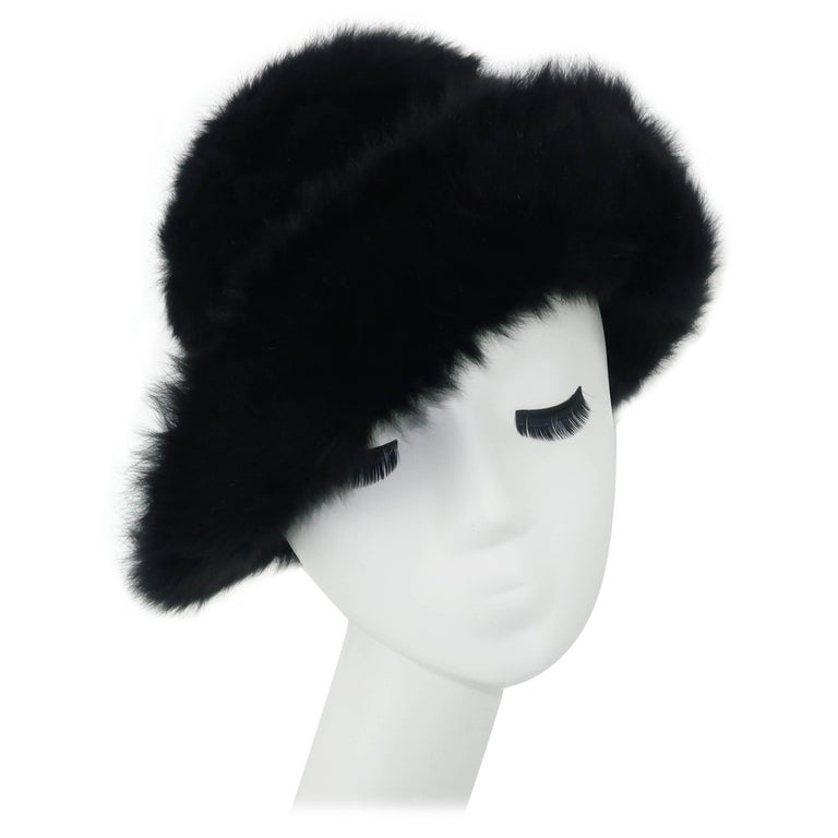 1960's Marshall Field English Furry Black Mohair Hat